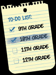 To do list. 9th grade, 10th grade, 11th grade, 12th grade.