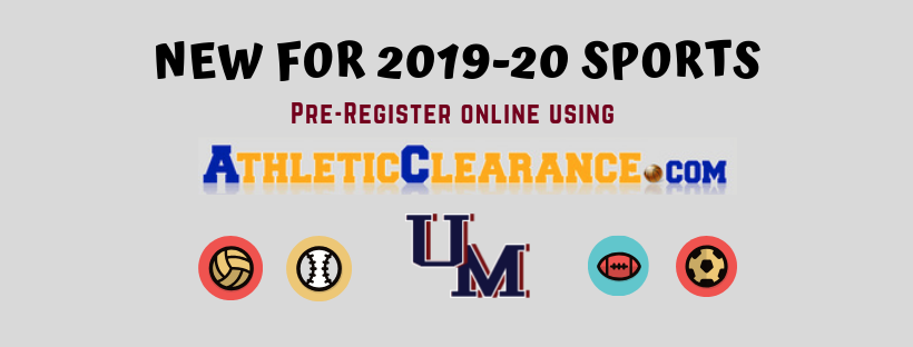 New for 2019-20 sports. Pre register online using Athletic Clearance dot com.